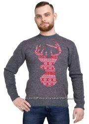 Свитер мужской Norveg Sweater Wool темно-серый с красным оленем