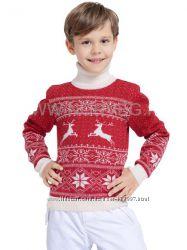 Свитр детский NORVEG Sweater Jaquard Wool красный с белыми оленями