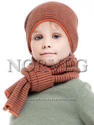 Шарф подростковый, цвет оранжево-серая полоска