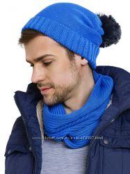 Шапка и шарф подростковый, цвет сине-серый