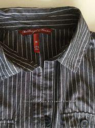 Стильная рубашка, блузка серая в белую полоску, 100 котон, М