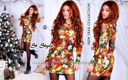 Яркое стрейчевое платье с цветочным принтом, с длинным рукавом