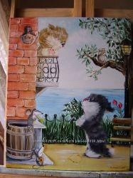картина маслом Закохані котики 40х50