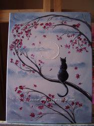картина маслмо Самотній котик. 40х30