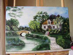 картина маслом Затишний будинок 40х60
