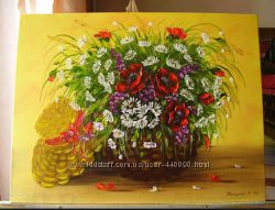 Картина маслом Польові квіти 50Х60