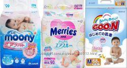 Японские подгузники Гун GooN Moony Муни, Merries Мерриес,