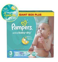 Подгузники Pampers Active Baby 3 126, 4 106, 5 87