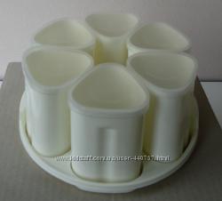 Стаканчики баночки для йогурта, комплект 6шт190 мл на подставке