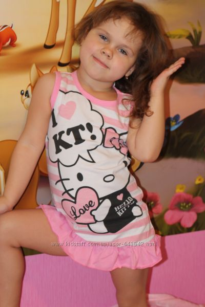 Летнее модное красивое платье для девочки HELLO KITTY