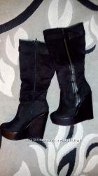 Сапоги замшевые демисезонные New Look 24. 5-25 см стелька