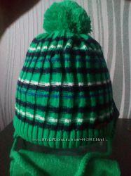 Комплект зимняя шапка и шарф на флисе