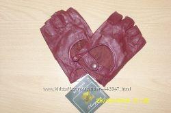 Новые кожаные женские перчатки без пальцев, светло-бордовые