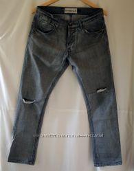 Мужские серые рваные джинсы Topman