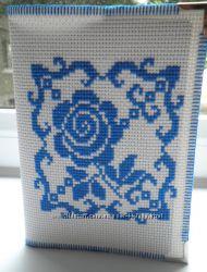 Обложка на паспорт из винила Синяя Роза ручная работа