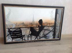 Картина утро в Париже и Вышитые коты-повара ручная работа