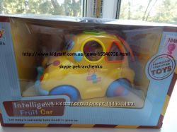 Музыкальная машинка сортер с сенсорными кубиками Фруктовая машинка Hola Toy