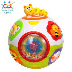 Игрушка Huile Toys Счастливый мячик, музыка, крутится, звуки животных
