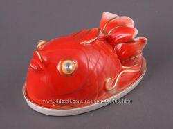 Блюдо Elen Dekor Золотая рыбка с крышкой 20 см 58-581. На подарок.
