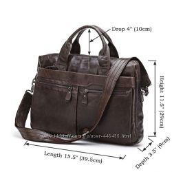 Актуальная кожаная сумка для ноутбука коричневая, черная