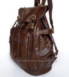 Большой кожаный рюкзак с регулируемым объемом, дубленая кожа, винтаж