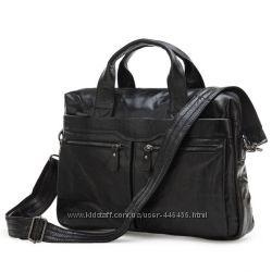 Актуальная кожаная сумка с отделением для ноутбука, черная