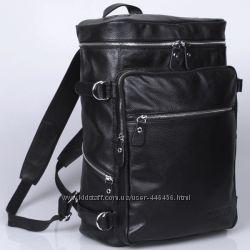 Урбан-стайл, большой дорожный кожаный рюкзак, черный