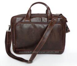 Мужская деловая кожаная сумка с отделением для ноутбука, брифкейс