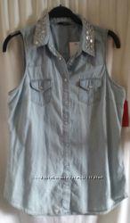 Джинсовая рубашка- безрукавка   TOP SHOP р L