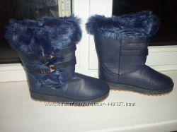 Распродажа Зимние красивые синие угги с мехом