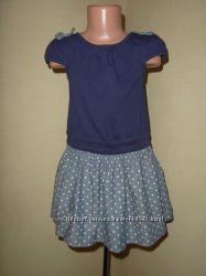 Комбинированное джинсом трикотажное платье на 4-5 лет