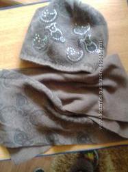 Комплект шапка и шарф коричневый