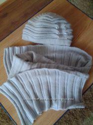 Комплект шапка и шарф серый