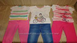 Летний гардероб для девочки шорты, капри, брюки футболки 4-6лет.