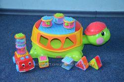 Строительнная черепаха музыкальная, машинки, кубики Fisher Price