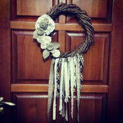 Эко-венок на дверь или стену