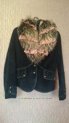 Куртка с мехом замшевая бу
