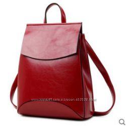 Кожа. Стильный женский рюкзак- трансформер. 5 цветов