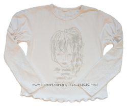 Блуза с длинным рукавом гипюр, рост  92, 104, 116 см