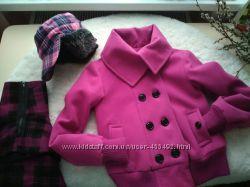 Куртка пальто Dunnes 8, юбка Next 10, шапка ушанка C&A