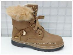 Кожаные зимние ботинки женские на шнуровке