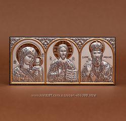 Икона в авто трех святых - греческая с серебром и позолотой