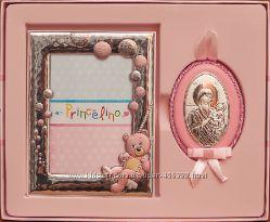Крестильный набор для мальчика и девочки  - фоторамка  и иконка матери