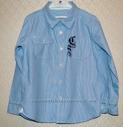 Красивая голубая рубашка в белую полоску MOTHERCARE