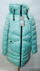 Стильная зимняя женская куртка пуховик Теплая и модная. Цвет мята