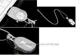 флешка 3 в 1, красивый кулон со стразами  часы  флешка, флеш память 4 Гб