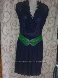 Платье синее плиссе