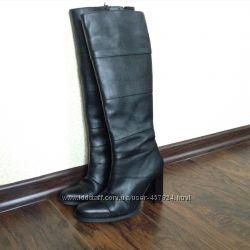 Кожаные высокие сапоги Деми на широком Толстом каблуке качество
