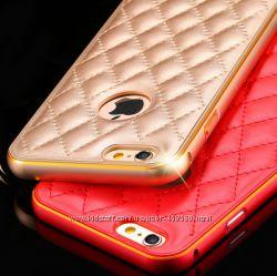 Металлический бампер для iPhone 6 и iPhone6 Plus с кожаной накладкой