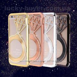 Бампер металлический кольцо с кристаллами для iPhone 6 и iPhone 6 Plus